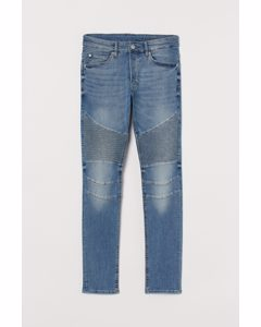 Skinny Biker Jeans Blassblau/Washed