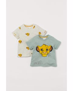 Set Van 2 T-shirts Met Print Lichtgroen/the Lion King