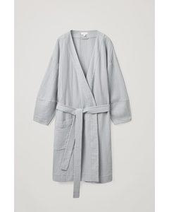 Seersucker Dressing Gown Light Grey