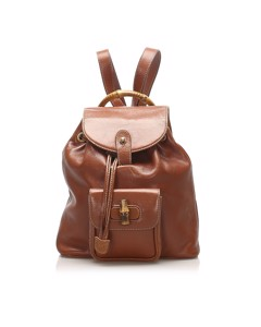 Gucci Bamboo Leather Drawstring Backpack Brown