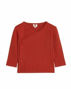Pima Cotton Wrap Cardigan Dark Terracotta