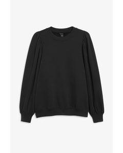 Oversized Puff Sleeve Sweater Black