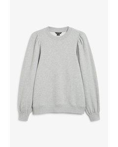 Oversize-Pullover mit Puffärmeln Grau
