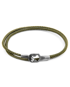 Anchor & Crew Khaki Green Tenby Silver And Rope Bracelet