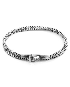Anchor & Crew White Noir Tenby Silver And Rope Bracelet