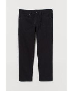 Slim Straight Cropped Jeans Schwarz