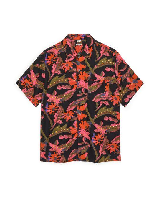Arket Cotton-Linen Short-Sleeved Shirt Black/Floral