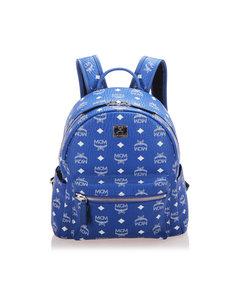Mcm Visetos Leather Backpack Blue