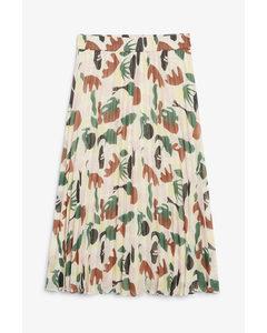 Pleated Midi Skirt Abstract Leaf Print