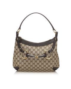 Gucci Gg Canvas Horsebit Shoulder Bag Brown