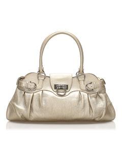 Ferragamo Gancini Marisa Leather Handbag Gold