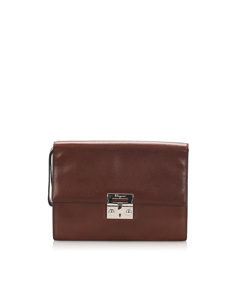 Ferragamo Leather Clutch Bag Brown
