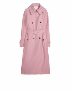 Linen Blend Trench Coat Pink