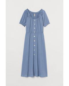 Durchgeknöpftes Kleid Taubenblau