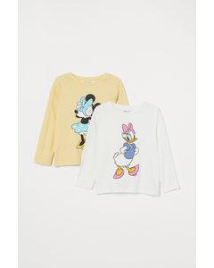 2er-Pack Shirts mit Druck Hellgelb/Minnie Maus