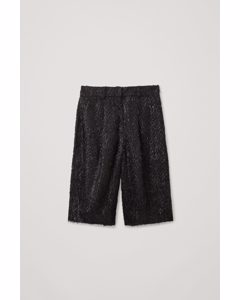 Tailored Feathered Shorts Black