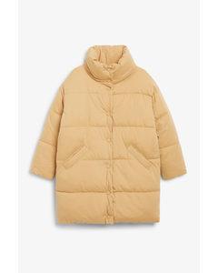 Button-up Puffer Coat Beige
