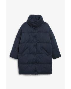 Button-up Puffer Coat Dark Blue