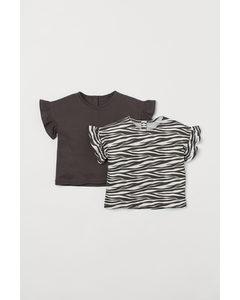 2-Pack Shirts mit Volantärmeln Naturweiß/Zebramuster