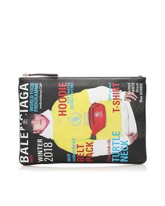Balenciaga Magazine Print Leather Clutch Bag Green