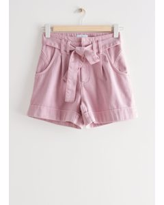 Belted Jeans Shorts Light Pink