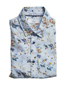 Floral Short-sleeve Shirt Light Blue