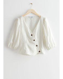 Asymmetric Silk Blend Blouse White