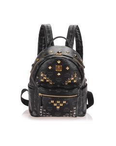 Mcm Visetos Stark Leather Backpack Black
