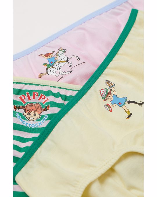 H&M 7-pack Cotton Briefs Pink/pippi Longstocking
