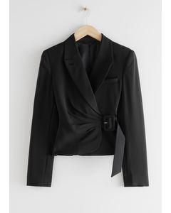 Fitted Cropped Side Belt Blazer Black