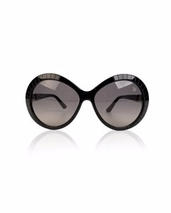 Swarovski Black Round Sunglasses Dolce Sw71 01 B 140 Mm With Crystals