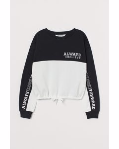 Sweatshirt Med Dragsko Svart/vit