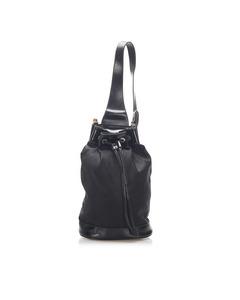 Gucci Bamboo Nylon Bucket Bag Black