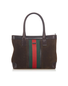 Gucci Web Suede Tote Bag Brown