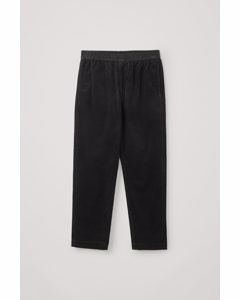 Elasticated Corduroy Trousers Black