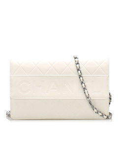 Chanel Cc Timeless Lambskin Leather Wallet On Chain White