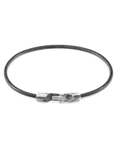 Anchor & Crew Shadow Grey Talbot Silver And Round Leather Bracelet