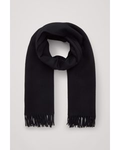 Recycled Wool Mix Scarf Black