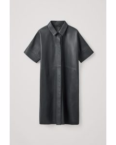 Leather Shirt Dress Dark Grey