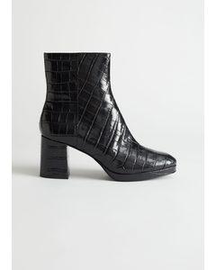Croc Leather Platform Boots Black