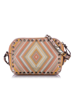Valentino Rockstud Printed Leather Crossbody Bag Multi