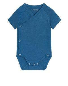 Cotton Lyocell Wrap-over Bodysuit Blue