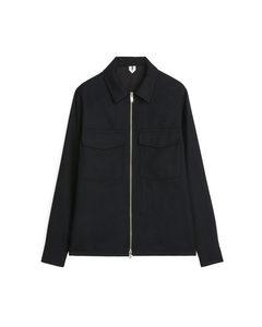 Zip Wool Overshirt Black