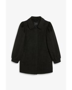 Puff Sleeve Coat Black