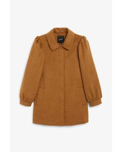 Puff Sleeve Coat Tan