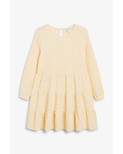 Babydoll-Kleid aus Seersucker Hellgelb