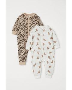 2er-Pack Schlafstrampler Beige/Leoparden