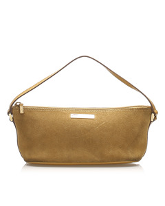 Gucci Boat Suede Baguette Brown