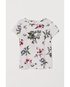 Jerseyshirt mit Druck Naturweiß/Geblümt