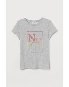 Jerseyshirt mit Druck Hellgraumeliert/NYC